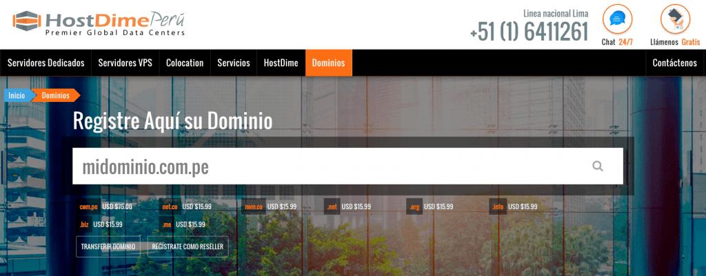 Registro-Dominios-HostDime-Perú