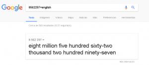 Google numeros en ingles
